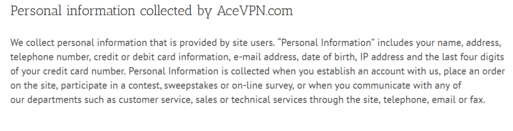 AceVPN privacy policy