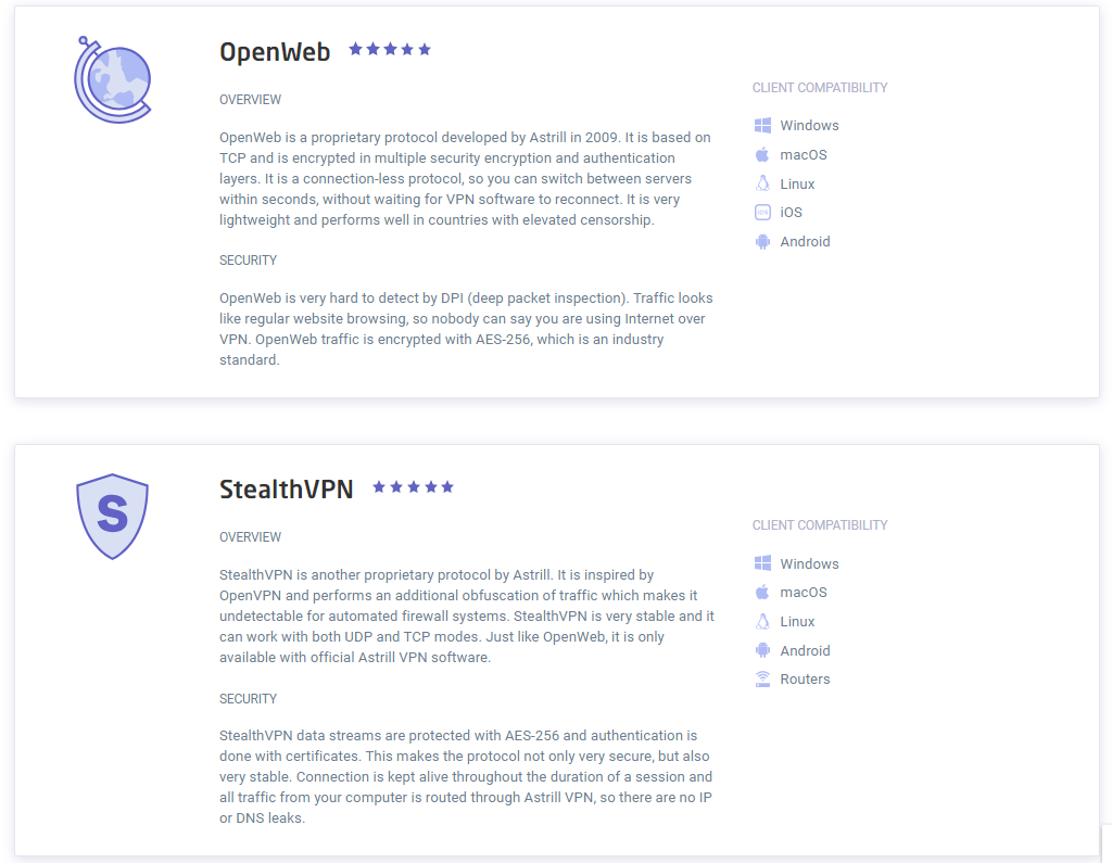 astrill openweb and stealthvpn