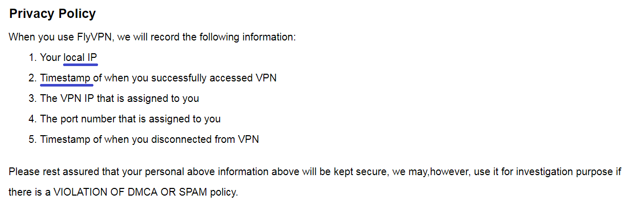 flyvpn logging policy