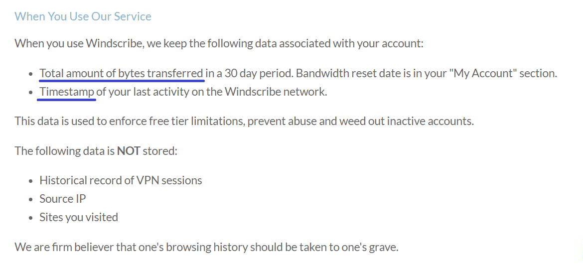Logging Policy of Windscribe VPN