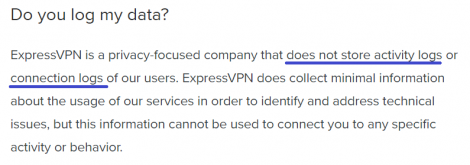 expressvpn logging policy